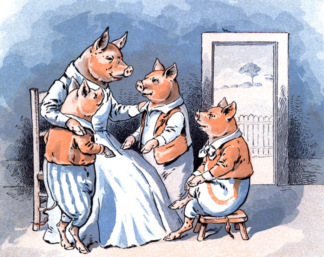 Illustration:  Mother.  The Story of The Three Little Pigs.  McLoughlin Bro's: New York. Ca 1900.