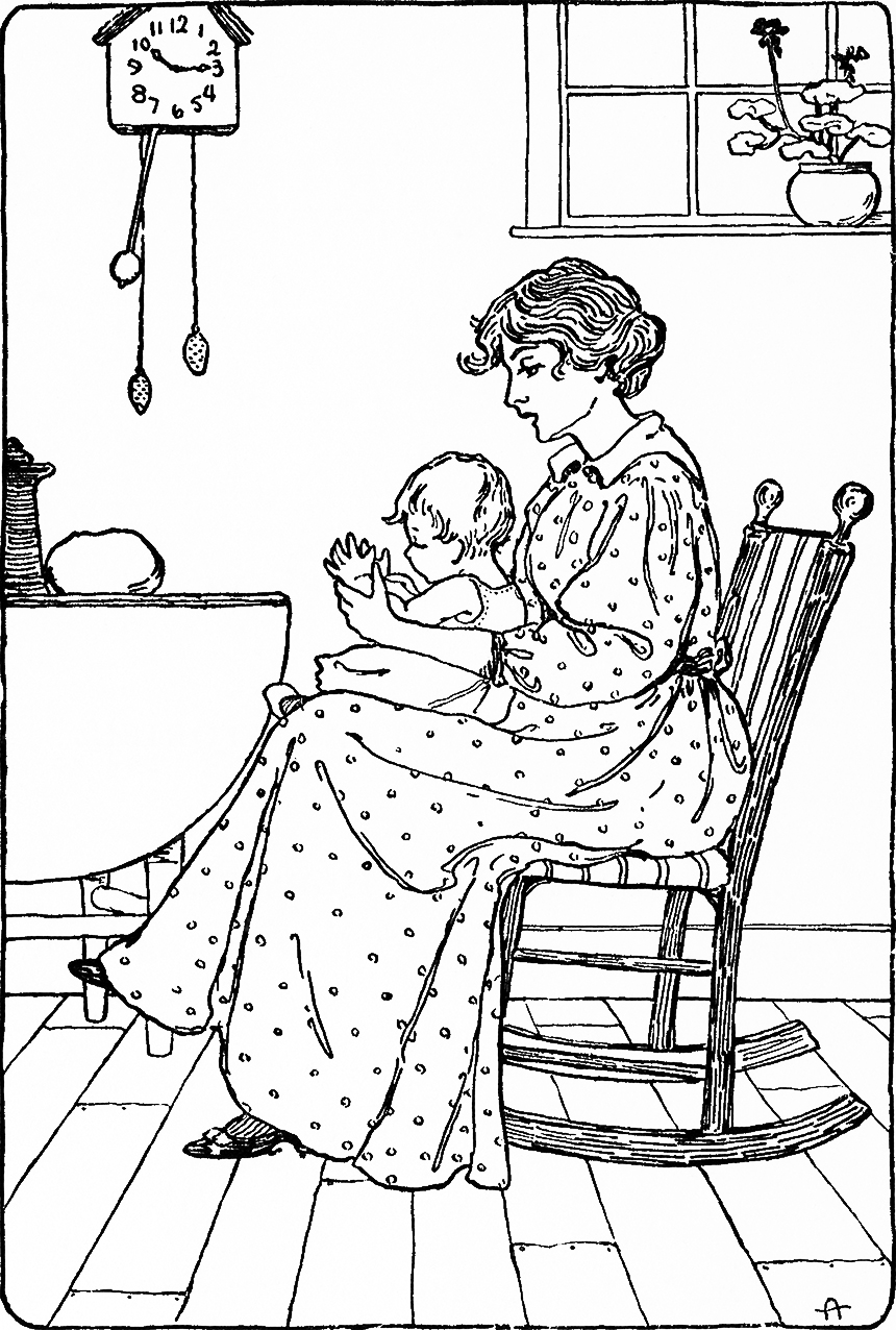 Illustration: Pat-a-Cake. A Book of Nursery Rhymes. Arranged by Charles Welsh. Illustrated by Clara E. Atwood. D. C. Heath & Co., Publishers: Boston, New York, Chicago. Ca 1901.