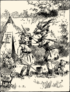 Illustration: Playing Real Indians. Mother's Yellow Fairy Tale Book. Arranged by Laura Dent Crane. Henry Altemus Company: Philadelphia. 1905.