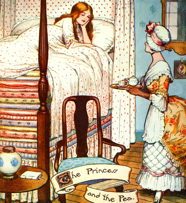 "Illustration:  From the story ""The Real Princess"" Princess and the Pea. Hans Andersen's Fairy Tales.  Written by William Woodburn.  Illustrated by Gordon Robinson.  W. & R. Chambers, Limited, London & Edinburgh. Ca 1917."
