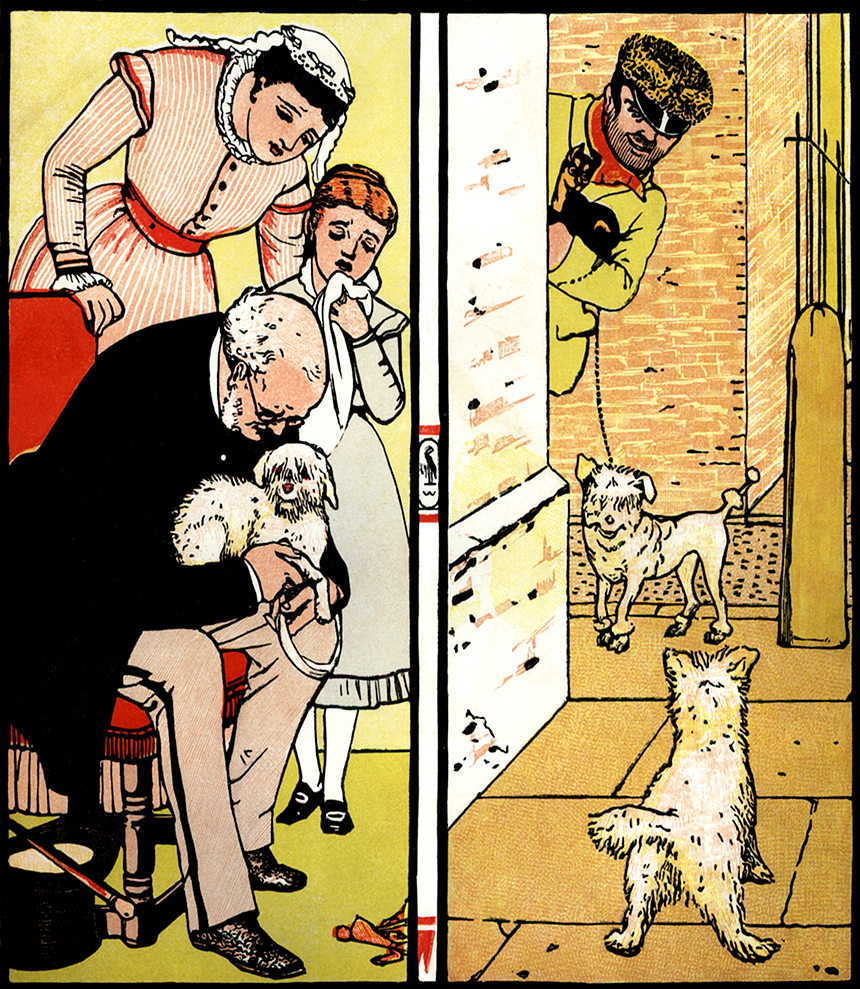 Illustration:  Puffy With Doctor & Dog Thief.  The Three Bears' Picture Book.  Illustrated by Walter Crane.  George Routledge and Sons: London & New York.