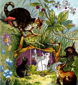 Illustration: Puss and Rabbits. LITTLE FOLKS STORIES 3 Bears, Puss in Boots, Red Riding Hood. McLoughlin Bro's: New York. 1888.