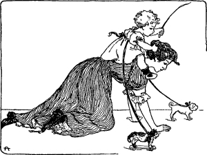 Illustration: Ride Away on Mother. A Book of Nursery Rhymes. Arranged by Charles Welsh. Illustrated by Clara E. Atwood. D. C. Heath & Co., Publishers: Boston, New York, Chicago. Ca 1901.