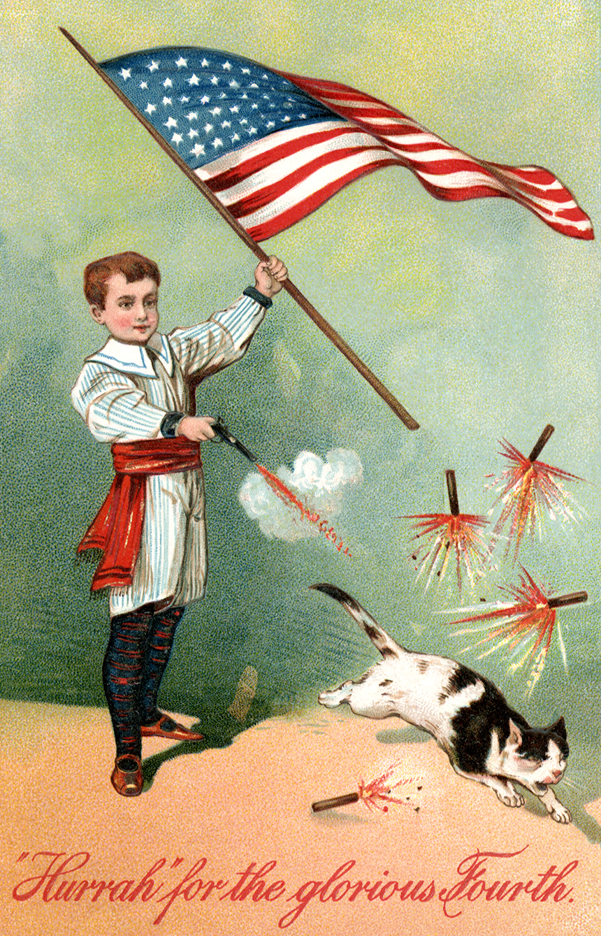 Boy Shoots Cat July Fourth.   Postcard.  Circa 1910.