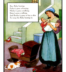 Illustration: Baby Bunting. Mother Goose Volland Popular Edition. Edited by Eulalie Osgood Grover. Illustrated by Frederick Richardson. Published by P. F. Volland Company: New York, Chicago & Toronto. 1921.