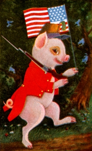 Illustration: Jimmie Piggy & Flag. The Tale of Jimmie Piggy. By Marjorie Manners. The Platt & Nourse Co.: New York. 1918.