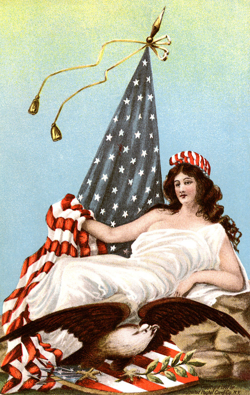 Lady Liberty at Leisure.  Copyright 1907 by Illustrated Postal Card Company., N.Y.