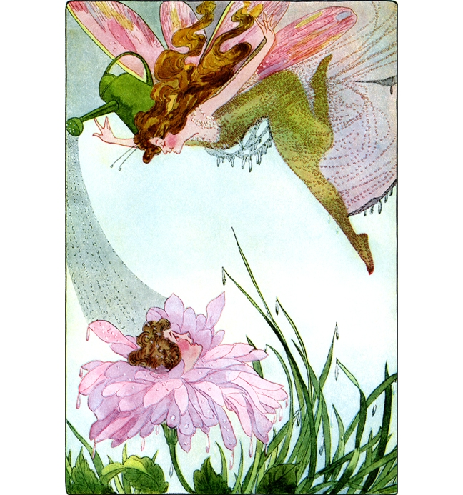 Illustration:  Lady Summer.  A Year With the Fairies.  Written by Anna M. Scott.  Illustrations by M. T. (Penny) Ross.  P. F. Volland & Co.: Chicago, U.S.A. 1914.