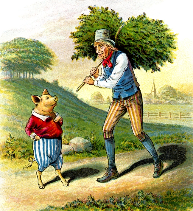 Illustration:  Straw For A House.  The Story of The Three Little Pigs.  McLoughlin Bro's: New York. Ca 1900.