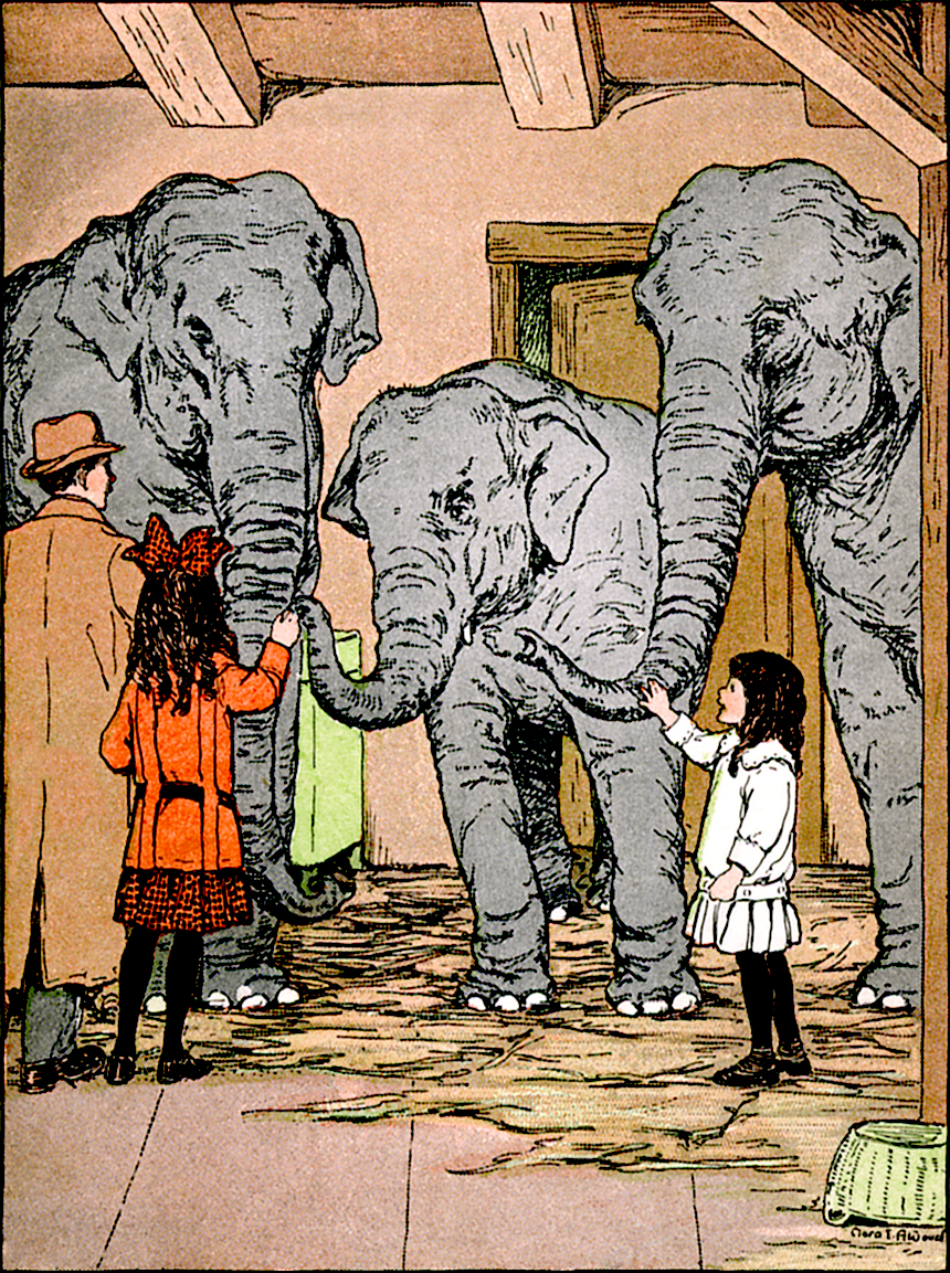 Illustration:  Hello Big Fellows.  THE ADVENTURES OF MOLLIE, WADDY AND TONY  Written by Paul Waitt.  Illustrations by Clara E. Atwood.  Little, Brown, and Company: Boston. 1915.