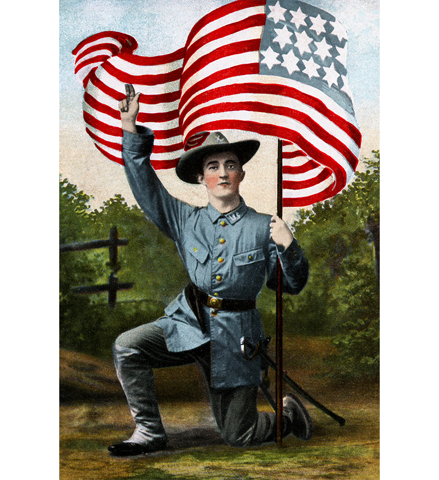 Illustration:  Soldier Kneeling With Flag.  Postcard printed in Germany.  Circa 1910.