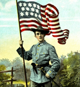 Illustration: Soldier With Flag. Postcard printed in Germany. Circa 1910