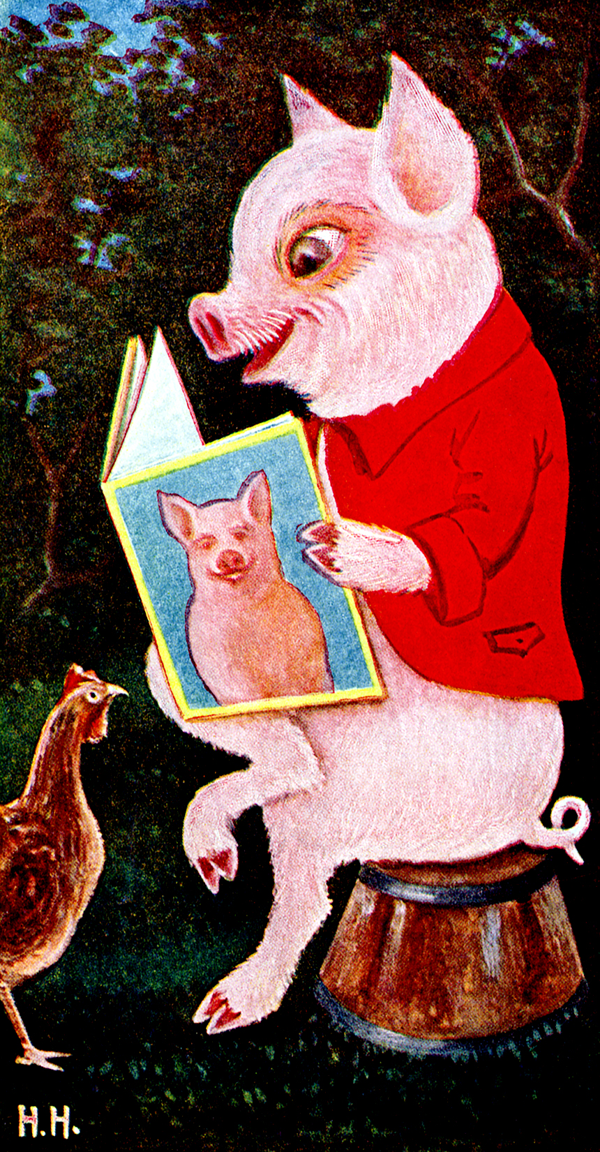 Illustration:  Jimmie Studying.  The Tale of Jimmie Piggy.  By Marjorie Manners.  The Platt & Nourse Co.: New York. 1918.