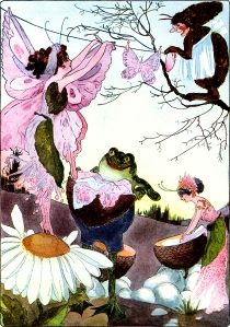 Illustration: Washing Day. A Year With the Fairies. Written by Anna M. Scott. Illustrations by M. T. (Penny) Ross. P. F. Volland & Co.: Chicago, U.S.A. 1914.
