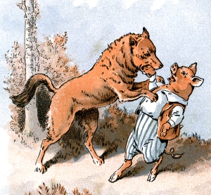 Illustration: Wolf Eats Little Pig. The Story of The Three Little Pigs. McLoughlin Bro's: New York. Ca 1900.