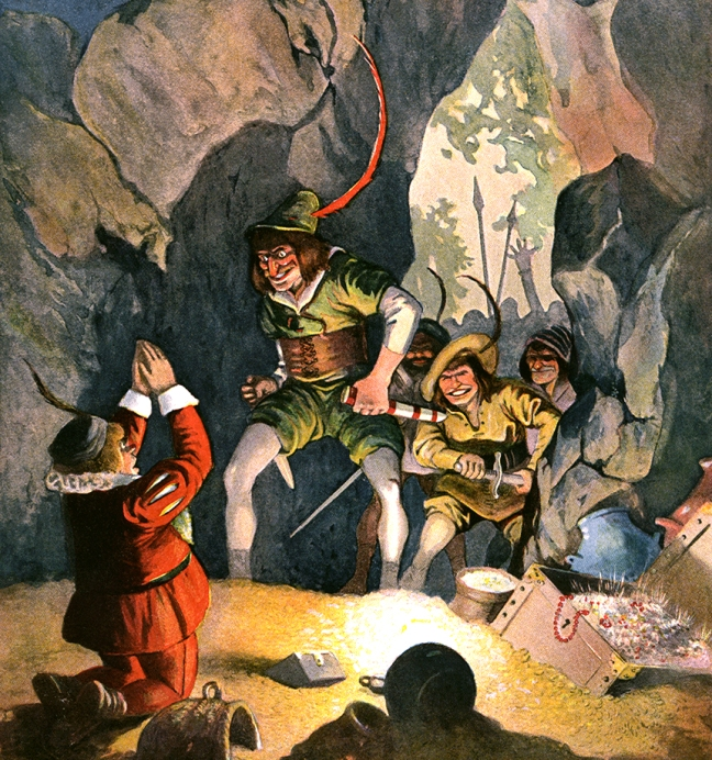 Illustration:  Simeli Mountain.  Grimm's Fairy Tales.  Translated from the German By Margaret Hunt.  Illustrated By John B. Gruelle.  Cupples and Leon Company: New York. Ca 1914.