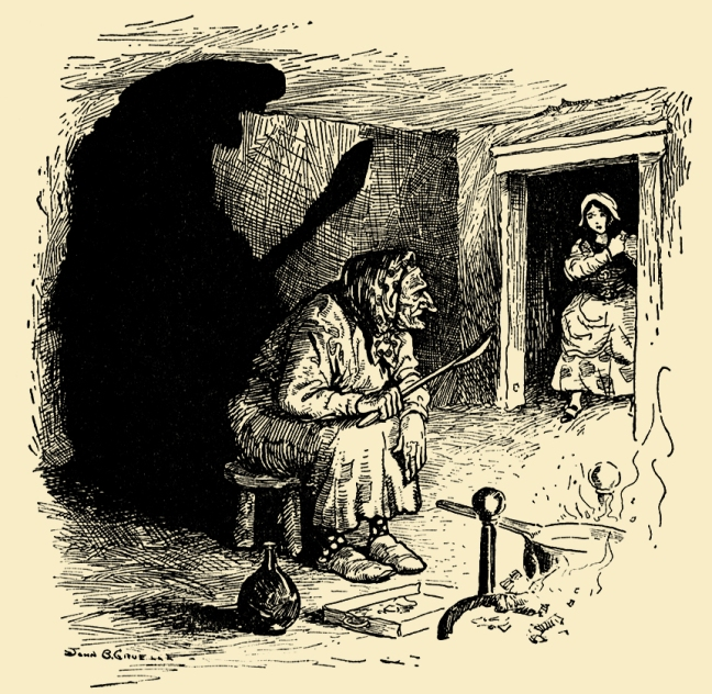 Illustration:  The Robber Bridegroom.  Grimm's Fairy Tales.  Translated from the German By Margaret Hunt.  Illustrated By John B. Gruelle.  Cupples and Leon Company: New York. Ca 1914.
