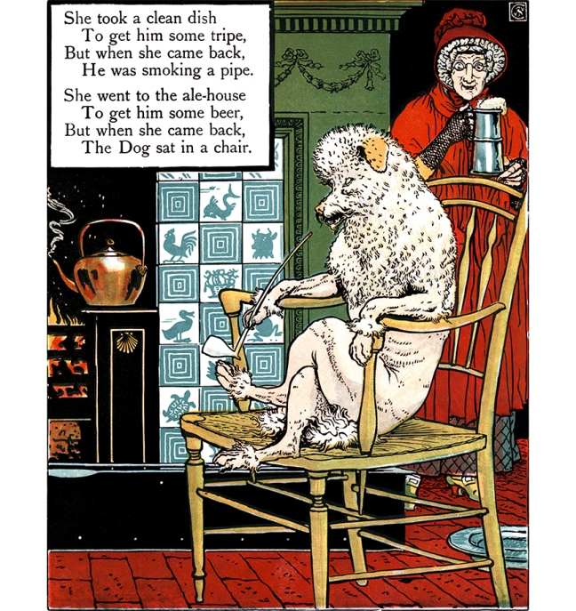 Illustration:  Dog Smoking Pipe.  MOTHER HUBBARD.  Walter Crane's Picture Books Re-Issue  John Lane  The Bodley Head: London & New York. 1897.