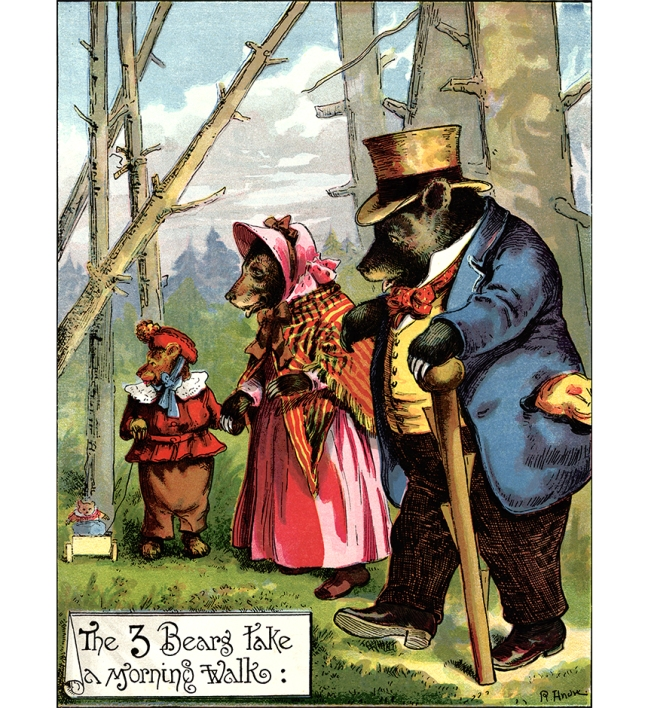 Illustration:  The Three Bears Take A Morning Walk.  LITTLE FOLKS STORIES.  McLoughlin Bro's: New York. 1888.