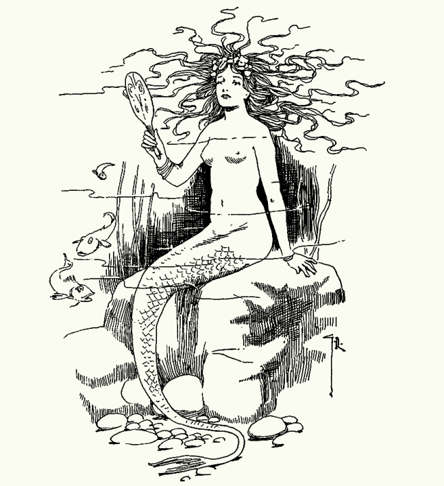 Illustration:  Mermaid.  Hans Andersen's Fairy Tales.  By William Woodburn.  Illustrated by Gordon Robinson.  W. & R. Chambers, Limited: London & Edinburgh.  1917.