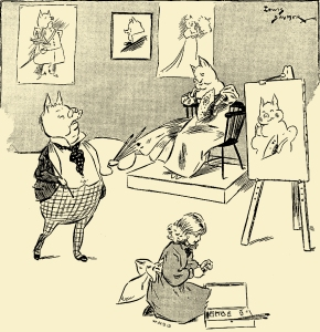 Illustration: The Portrait Painter. PETER PIPER'S PEEP SHOW or All the Fun of the Fair. Written by S. H. Hamer. With Illustrations by Lewis Baumer and Harry B. Neilson. Cassell And Company, Ltd.: London, Paris, New York & Melbourne. 1906.