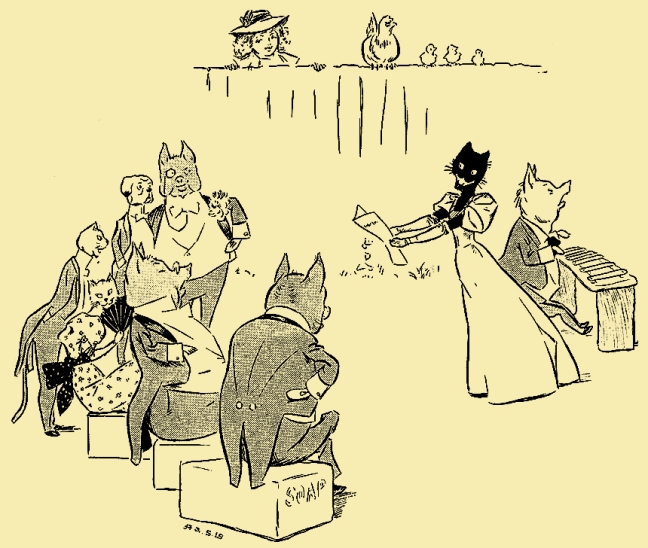 "Illustration:  ""THE SONG WAS 'THREE BLIND MICE.' ""   From the story ""The Extraordinary Adventures of Dicker and Me.""  Chapter IV. – The Concert – And How Dicker Played a Trick.  PETER PIPER'S PEEP SHOW or All the Fun of the Fair.  Written by S. H. Hamer.  With Illustrations by Lewis Baumer and Harry B. Neilson.  Cassell And Company, Ltd.: London, Paris, New York & Melbourne. 1906."