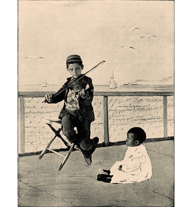 Illustration:  THE VIOLINIST OF THE FLOATING HOSPITAL.  Photograph by R. B. Tobey.  Copyright 1894.  Prattles For Our Boys and Girls.  Hurst & Co.: New York. 1912.