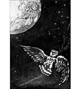 "Illustration: From the Story ""THE OWL AND THE MOON."" The Curious Book of Birds. Written by Abbie Farwell Brown. Illustrations by E. Boyd Smith. Houghton, Mifflin & Company: Boston & New York. 1903."