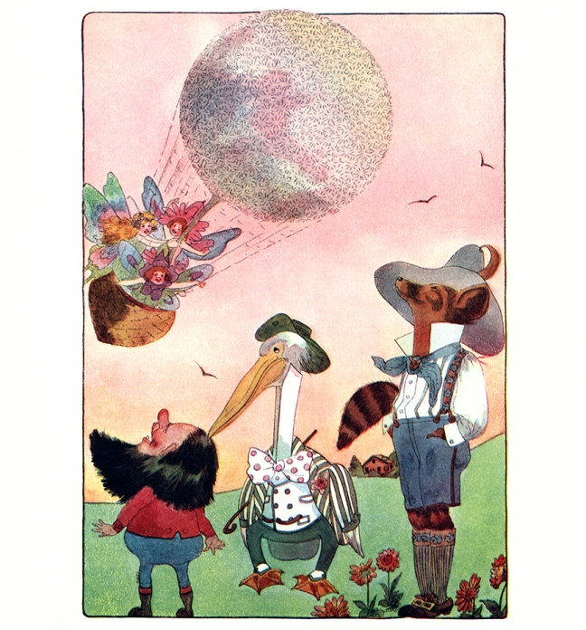 Illustration:  The Fairies' Balloon.  A Year With the Fairies.  Written by Anna M. Scott.  Illustrations by M. T. (Penny) Ross.  P. F. Volland & Co.: Chicago, U.S.A. 1914.