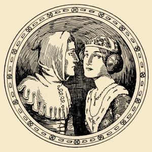 Illustration: The swineherd got his ten kisses. Hans Andersen's Fairy Tales. By William Woodburn. Illustrated by Gordon Robinson. W. & R. Chambers, Limited: London & Edinburgh. 1917.