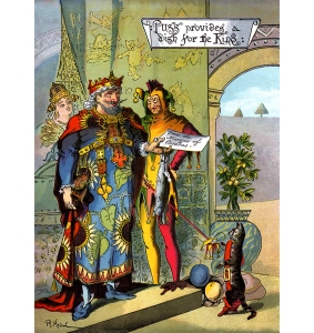 """Illustration: From the story """"Puss in Boots."""" Puss provides a dish for the King. LITTLE FOLKS STORIES. Illustration by R. Andre (1867). McLoughlin Bro's: New York. Ca 1888."""