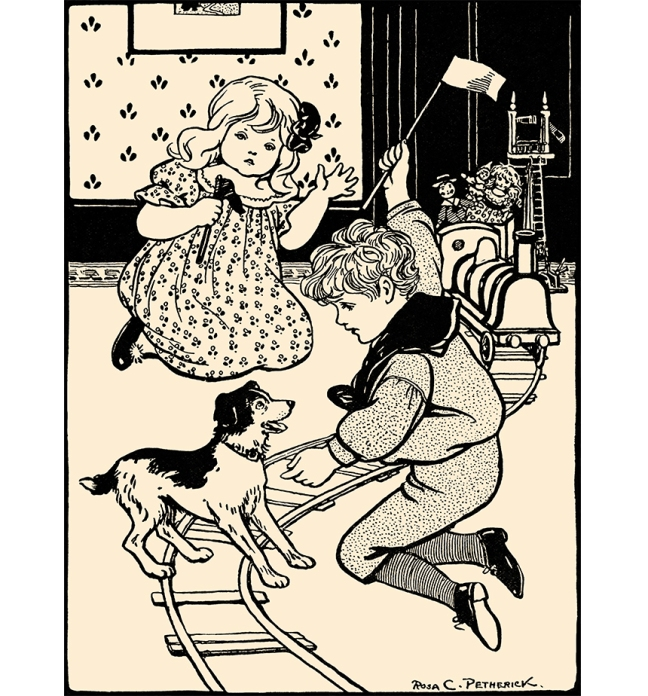 "Illustration:  ""Get Off The Tracks.""  Mother's Yellow Fairy Tale Book.  Arranged by Laura Dent Crane.  Henry Altemus Company: Philadelphia. 1905."