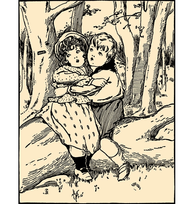 "Illustration:  ""Lost In The Woods""  Mother's Yellow Fairy Tale Book.  Arranged by Laura Dent Crane.  Henry Altemus Company: Philadelphia. 1905."