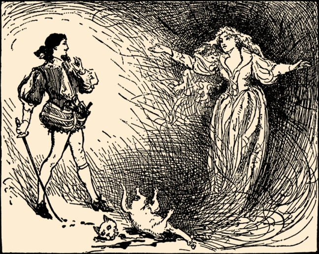 "Illustration:  ""A LOVELY PRINCESS STOOD BEFORE HIM.""  From the story ""The White Cat.""  Mother's Yellow Fairy Tale Book.  Arranged by Laura Dent Crane.  Henry Altemus Company: Philadelphia. 1905."