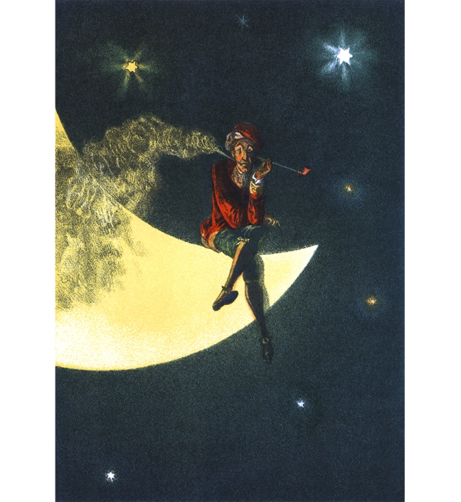 Illustration:  Munchhausen.  Illustrations by W. Simmler.  Stuttgart: (K. Thienemanns Verlag) Gebruder Hoffmann. Moon Smoke
