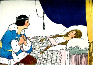 """Illustration: From the story """"BRIAR ROSE OR THE SLEEPING BEAUTY."""" Once Upon a Time. Edited by Katharine Lee Bates. Illustrated by Margaret Evans Price. Rand McNally & Company: Chicago & New York. 1921."""