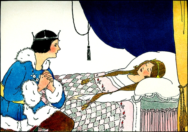 "Illustration:  From the story ""BRIAR ROSE OR THE SLEEPING BEAUTY.""  Once Upon a Time.  Edited by Katharine Lee Bates.  Illustrated by Margaret Evans Price.  Rand McNally & Company: Chicago & New York. 1921."