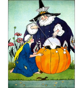 """Illustration: From the story """"CINDERELLA OR THE LITTLE GLASS SLIPPER."""" Once Upon a Time. Edited by Katharine Lee Bates. Illustrated by Margaret Evans Price."""