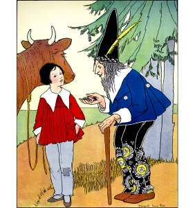 """Illustration: I'LL GIVE ALL THESE BEANS FOR YOUR COW. Once Upon a Time. From the story """"JACK AND THE BEANSTALK."""" Edited by Katharine Lee Bates. Illustrated by Margaret Evans Price. Rand McNally & Company: Chicago & New York. 1921."""