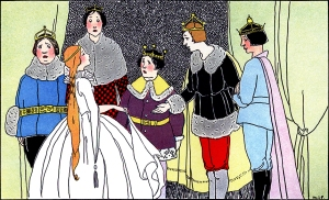 """Illustration: From the story """"KING HAWKSBEAK."""" Once Upon a Time. Edited by Katharine Lee Bates. Illustrated by Margaret Evans Price. Rand McNally & Company: Chicago & New York. 1921."""