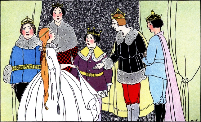 "Illustration:  From the story ""KING HAWKSBEAK.""  Once Upon a Time.  Edited by Katharine Lee Bates.  Illustrated by Margaret Evans Price.  Rand McNally & Company: Chicago & New York. 1921."