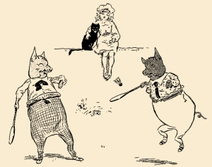 """Illustration: Badminton. From the story """"The Extraordinary Adventures of Dicker and Me."""" PETER PIPER'S PEEP SHOW or All the Fun of the Fair. Written by S. H. Hamer. With Illustrations by Lewis Baumer and Harry B. Neilson. Cassell And Company, Ltd.: London, Paris, New York & Melbourne. 1906."""