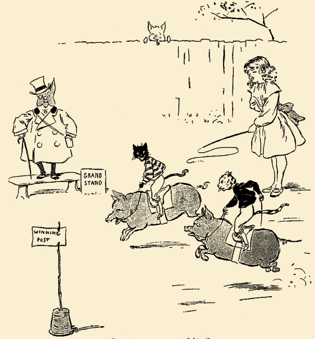 "Illustration:  From the story ""The Extraordinary Adventures of Dicker and Me.""  Chapter V. – The Great Race – Won by a Length  PETER PIPER'S PEEP SHOW or All the Fun of the Fair.  Written by S. H. Hamer.  With Illustrations by Lewis Baumer and Harry B. Neilson.  Cassell And Company, Ltd.: London, Paris, New York & Melbourne. 1906."