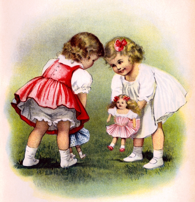 Illustration:  Creepy Girls And Dolls.  Prattles For Our Boys and Girls.  Hurst & Co.: New York. 1912.