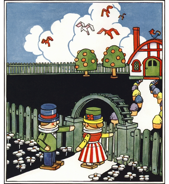 Illustration:  Funny Little House.  The Funny Little Book.  Story and Illustrations by Johnny Gruelle.  P. F. Volland Company: New York, Chicago and Toronto. 1918.