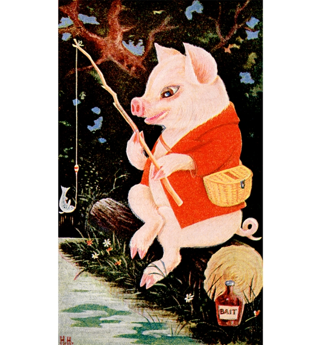 Illustration:  Gone Fishing With Jimmie.  The Tale of Jimmie Piggy.  By Marjorie Manners  The Platt & Nourse Co.: New York. 1918.