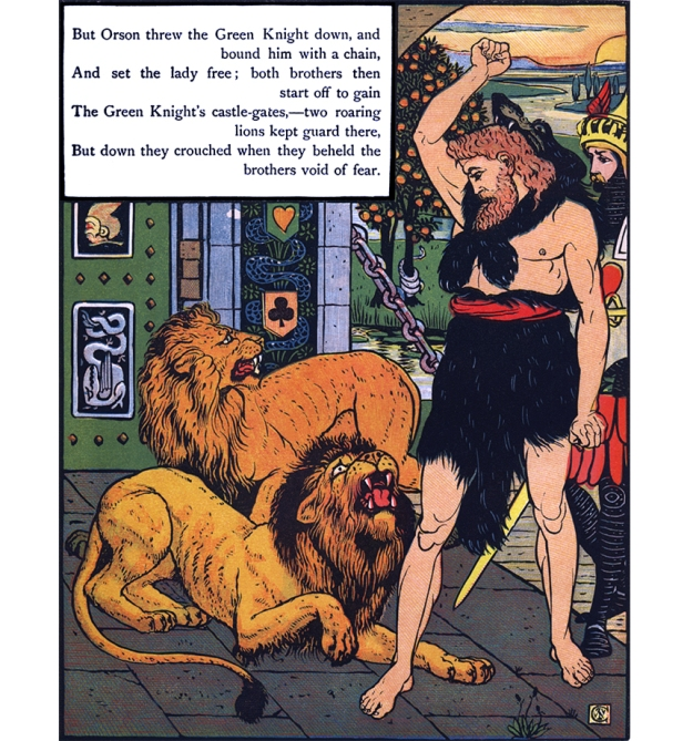 "Illustration:  Lions.  From the story ""Valentine And Orson""  The Three Bears' Picture Book.  Illustrated by Walter Crane.  George Routledge and Sons: London & New York."