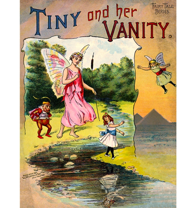 Illustration:  [Cover Artwork]  Tiny and Her Vanity.  McLoughlin Bros.: New York. 1892.