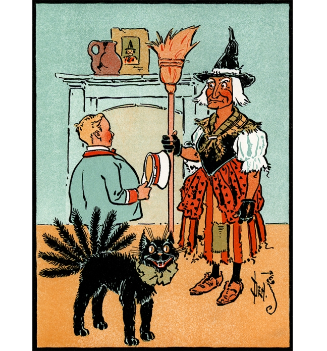 "Illustration:  ""That's my black cat-o-nine tails,"" said the old woman.  Billy Bounce.  By W. W. Denslow and Dudley A Bragdon.  Pictures by Denslow.  G. W. Dillingham Co. Publishers: New York. 1906."
