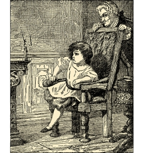 """Illustration: THE TIN SOLDIER COMPLAINS TO THE LITTLE BOY. From the story """"The Old House."""" Andersen's Fairy Tales. Henry Altemus Company: Philadelphia. Ca 1920."""